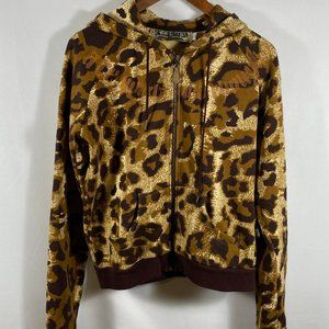 L.A.M.B By Gwen Stefani Leopard Zip Up Hoodie